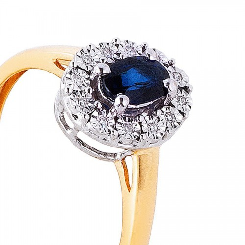 Piękny złoty pierścionek z szafirem i brylantami