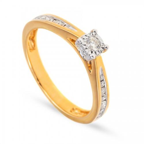 Zaręczynowy pierścionek z brylantami 0.22 ct