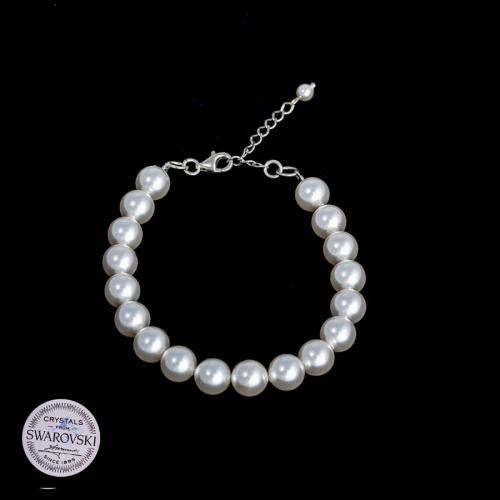 Bransoleta z białą perłą Swarovski
