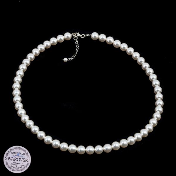 Naszyjnik z białą perłą Swarovski