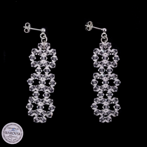 Piękne długie kolczyki z Kryształów Swarovski