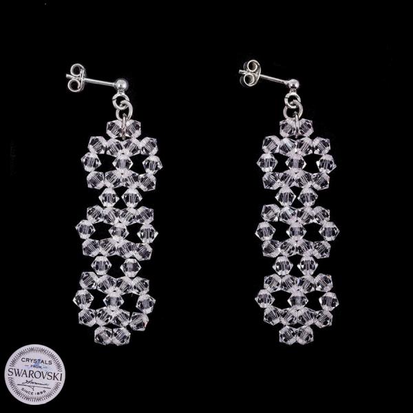 Piękne długi kolczyki z Kryształów Swarovski