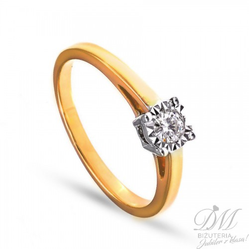 Pierścionek zaręczynowy brylant 0,15 ct