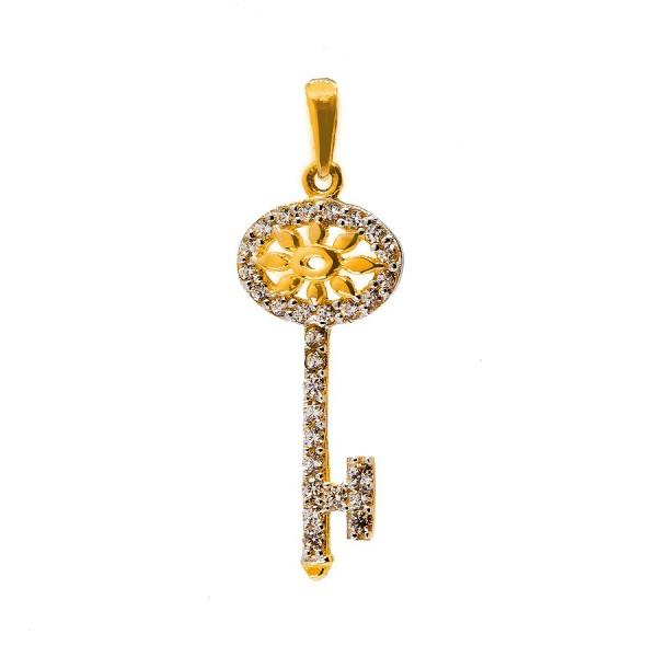 Złoty kluczyk z cyrkoniami