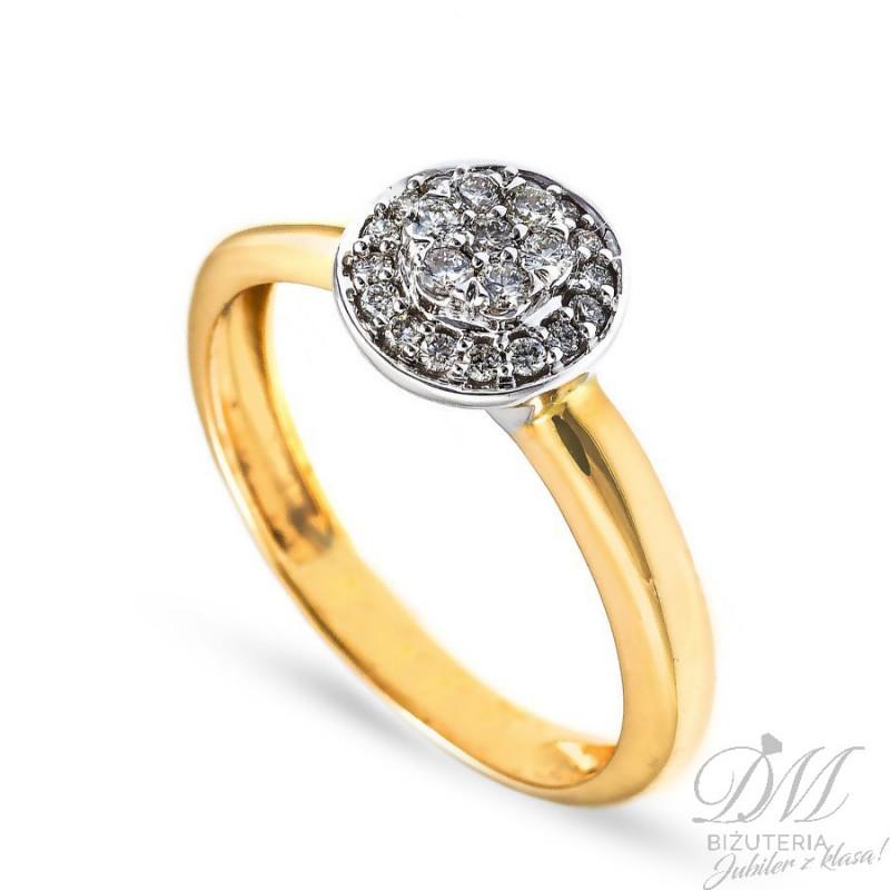Złoty Pierścionek Zaręczynowy Z Brylantami 020 Ct Sklep Dm Biżuteria