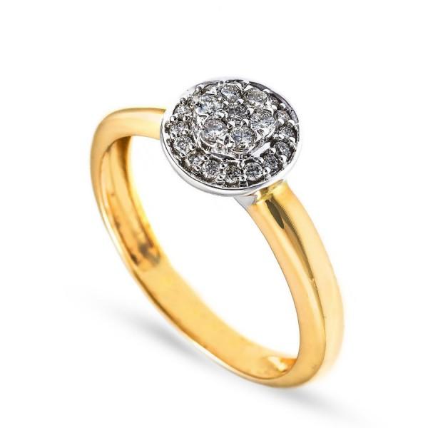 Złoty pierścionek zaręczynowy z brylantami 0.20 ct