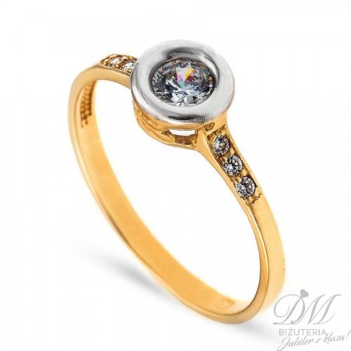 Złoty pierścionek z cyrkonią w białym złocie
