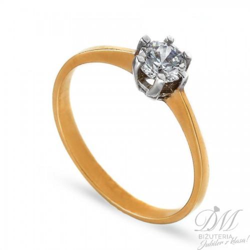 Złoty pierścionek z dużą cyrkonią - zaręczyny