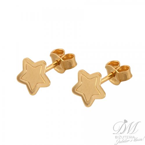 Piękne złote kolczyki w kształcie gwiazdek