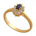 Wyjątkowy pierścionek z szafirem i cyrkoniami
