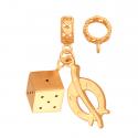 Złota przywieszka podkowa i kostka