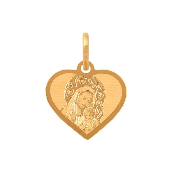 Piękny, złoty medalik z wizerunkiem Matki Boskiej - serduszko