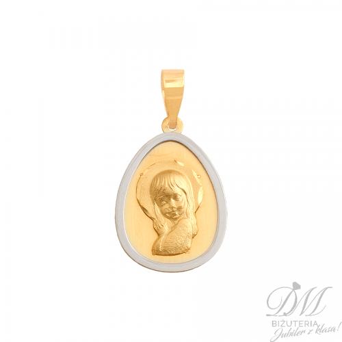 Medalik z wizerunkiem Matki Boskiej z białym złotem