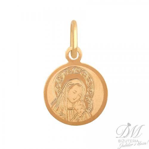 Mały medalik z wizerunkiem Matki Boskiej z Dzieciątkiem