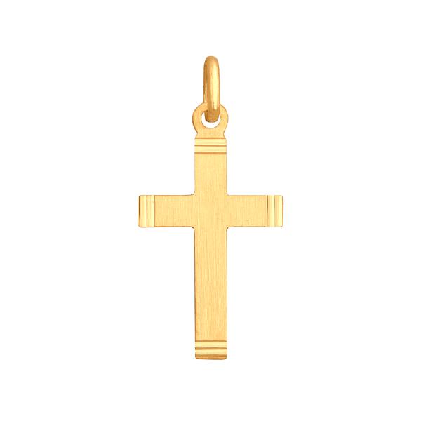 Delikatny złoty Krzyż z satyną
