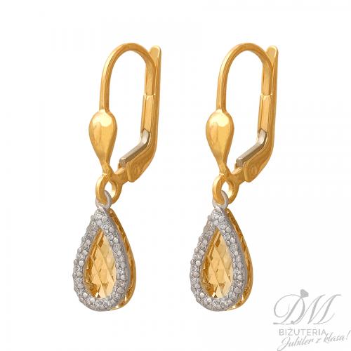 Długie złote kolczyki - łezki z cyrkoniami