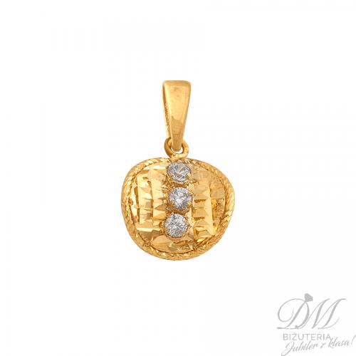 Delikatna złota przywieszka z cyrkoniami