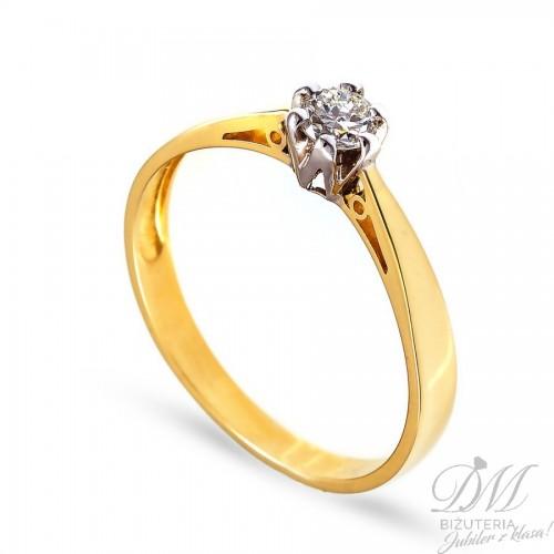 Złoty pierścionek z brylantem 0,08 ct