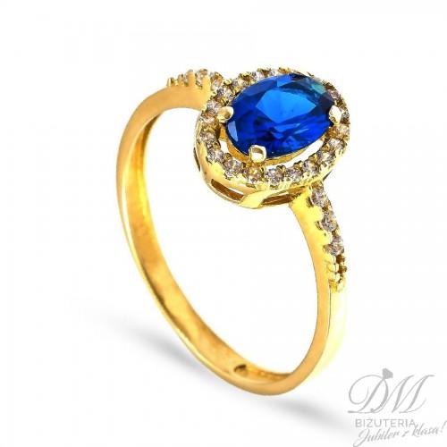 Złoty pierścionek z szafirową cyrkonią