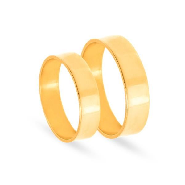 Obrączki ślubne złote płaskie 6 mm