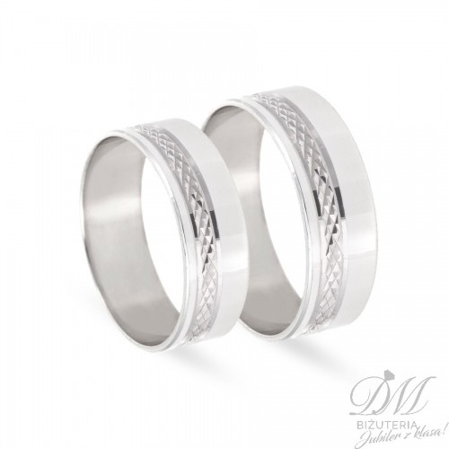 Obrączki ślubne płaskie z diamentowaniem 7 mm
