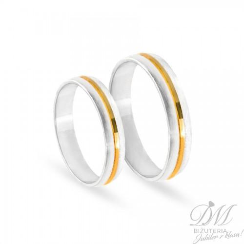 Obrączki ślubne półokrągłe delikatne z białego złota 4 mm