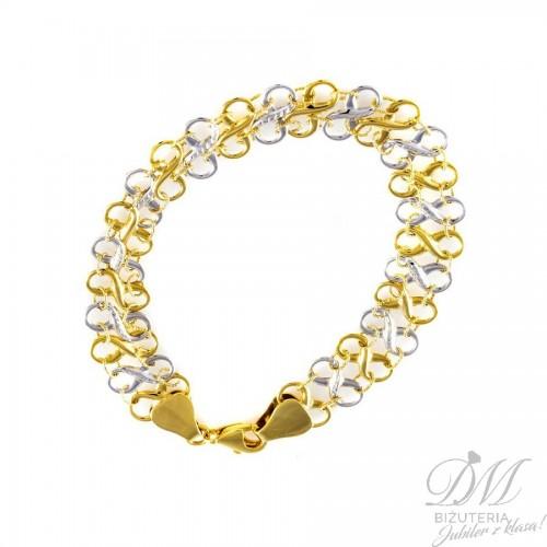 Złota bransoleta - dwukolorowa znak nieskończoności