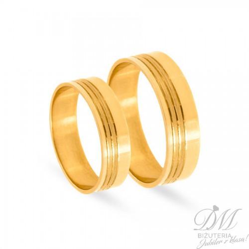 Obrączki ślubne płaskie poler z diamentowaniem 6 mm