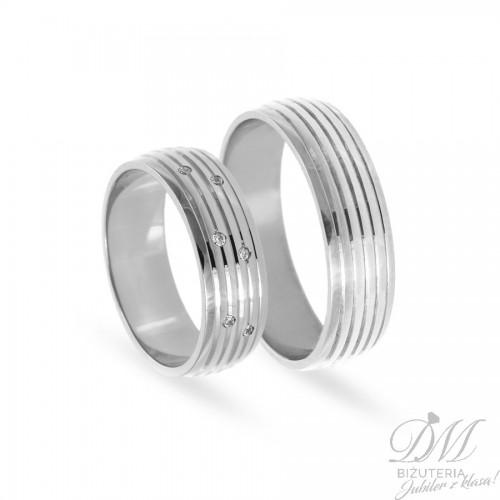 Obrączki ślubne półokrągłe z brylantami 6 mm
