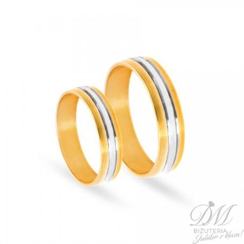 Obrączki ślubne półokrągłe z białym złotem 5 mm