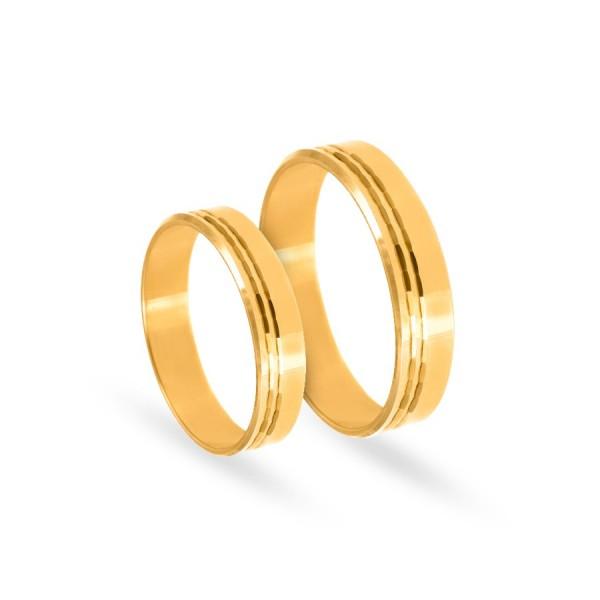 Obrączki ślubne płaskie z delikatnym diamentowaniem 5 mm