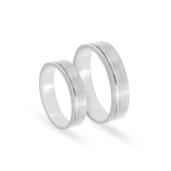 Obrączki ślubne płaskie z białego złota 5 mm