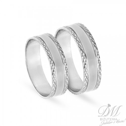 Obrączki ślubne płaskie diamentowane 6 mm