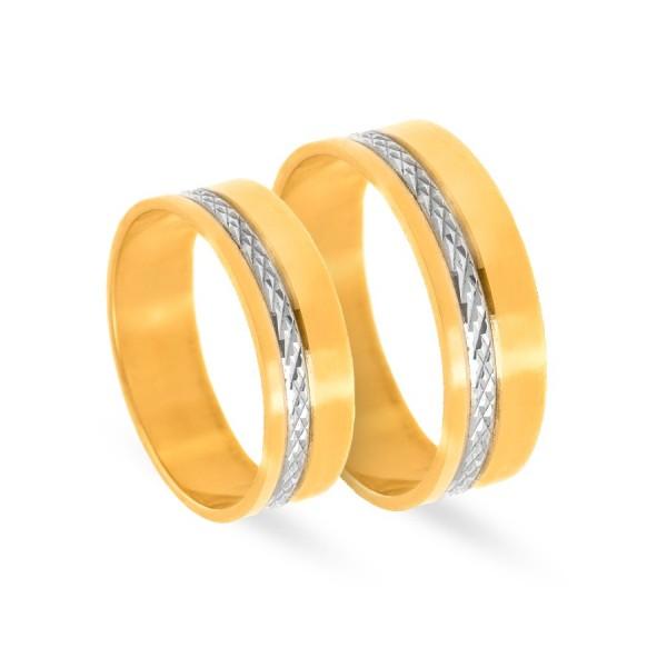 Obrączki ślubne płaskie z diamentowaniem 6 mm