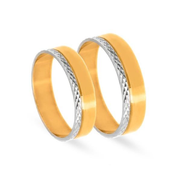 Obrączki ślubne płaskie z mieszanego złota 5 mm