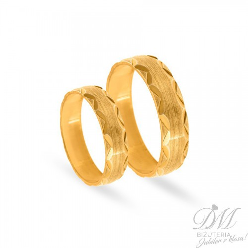 Obrączki ślubne półokrągłe satynowane pięknie zdobione 5 mm