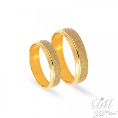 Obrączki ślubne półokrągłe matowe złoto 5 mm