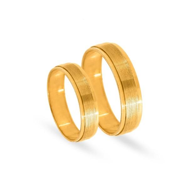 Obrączki ślubne płaskie żółte złoto zdobione 5 mm