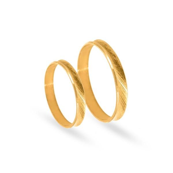 Obrączki ślubne wklęsłe satynowane 3 mm