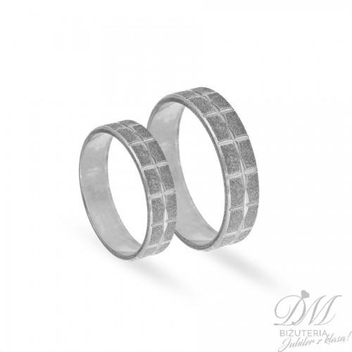 Obrączki ślubne płaskie piaskowane diamentowane 5 mm