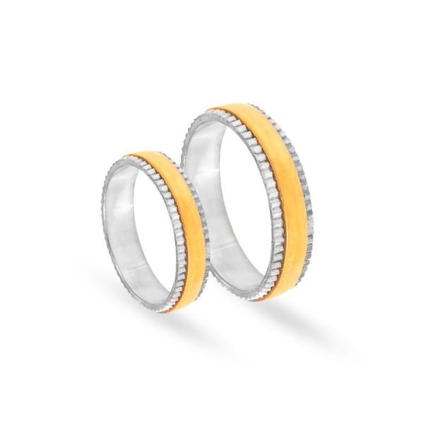 Obrączki ślubne półokrągłe ciekawie zdobione 5 mm