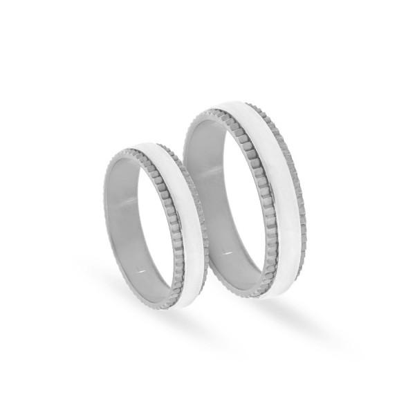 Obrączki ślubne półokrągłe z białego złota 5 mm