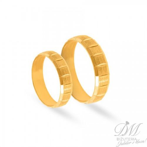 Obrączki ślubne półokrągłe satyna z diamentowaniem 5 mm