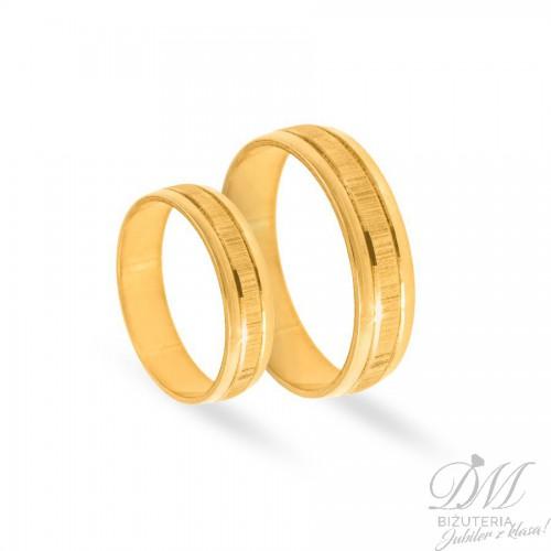 Obrączki ślubne półokrągłe pięknie zdobione złota 5 mm