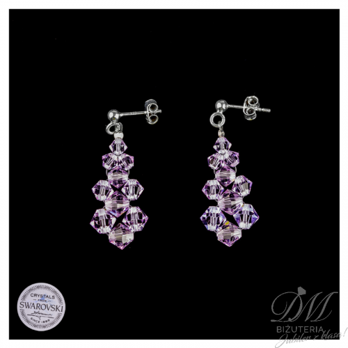 Piękne kolczyki z fioletowych Kryształów Swarovski