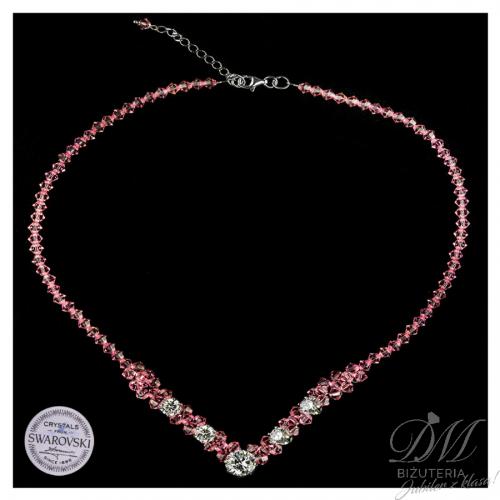 Wspaniały naszyjnik z różowych Kryształów Swarovski