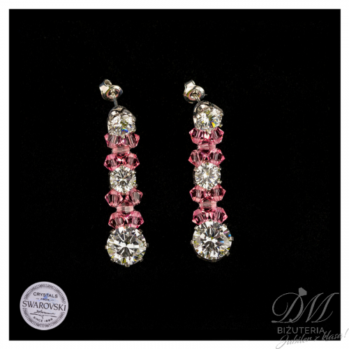 Przepiękne kolczyki z różowych Kryształów Swarovski