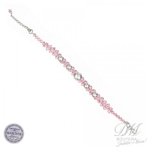 Cudna bransoleta z różowych Kryształów Swarovski