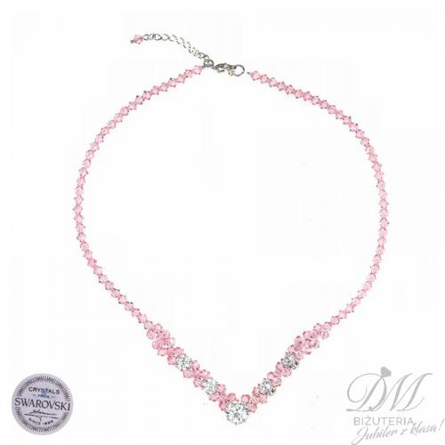Wspaniały naszyjnika z różowych Kryształów Swarovski