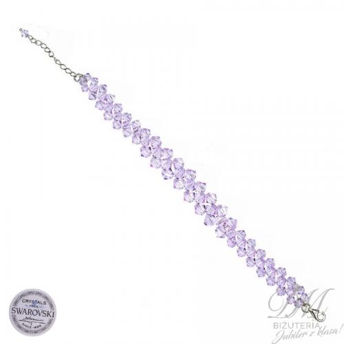 Śliczna bransoleta z fioletowych Kryształów Swarovski
